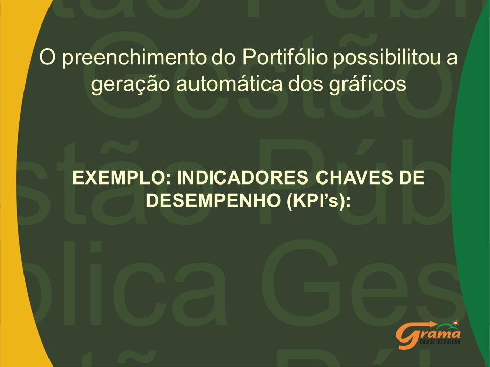 O preenchimento do Portifólio possibilitou a geração automática dos gráficos EXEMPLO: INDICADORES CHAVES DE DESEMPENHO (KPIs):