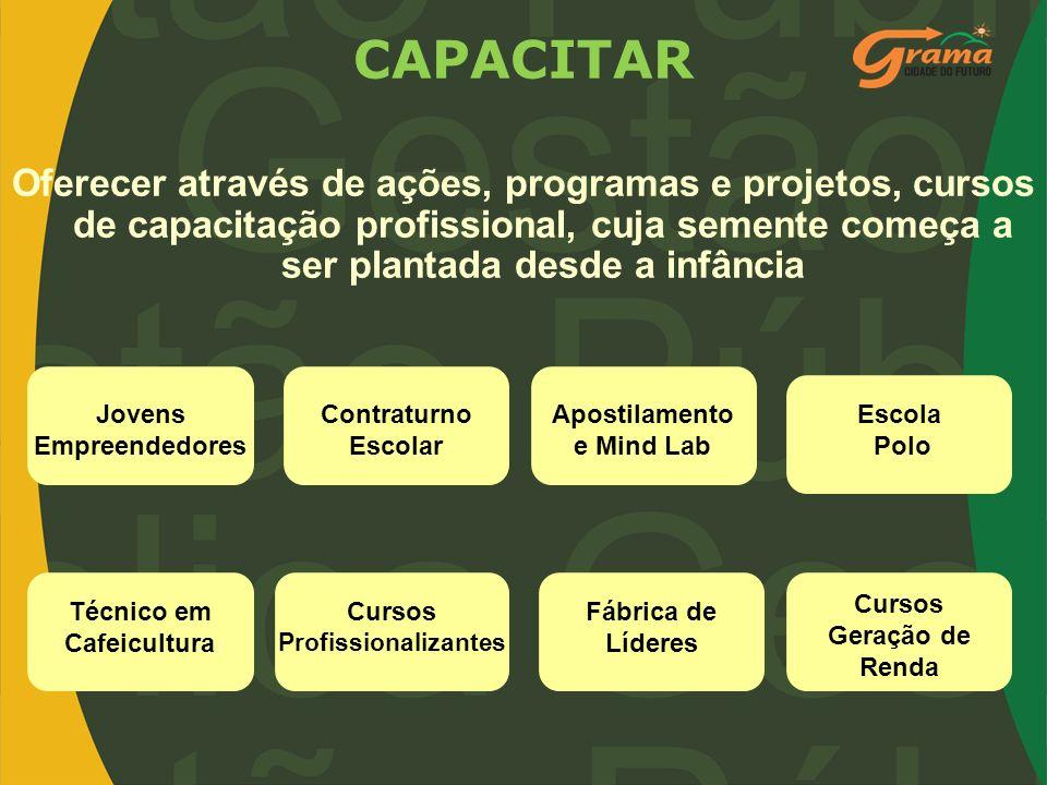 CAPACITAR Oferecer através de ações, programas e projetos, cursos de capacitação profissional, cuja semente começa a ser plantada desde a infância Jov