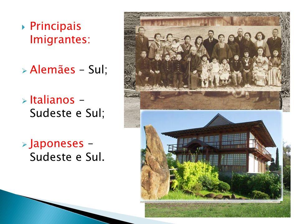 Principais Imigrantes: Alemães – Sul; Italianos – Sudeste e Sul; Japoneses – Sudeste e Sul.