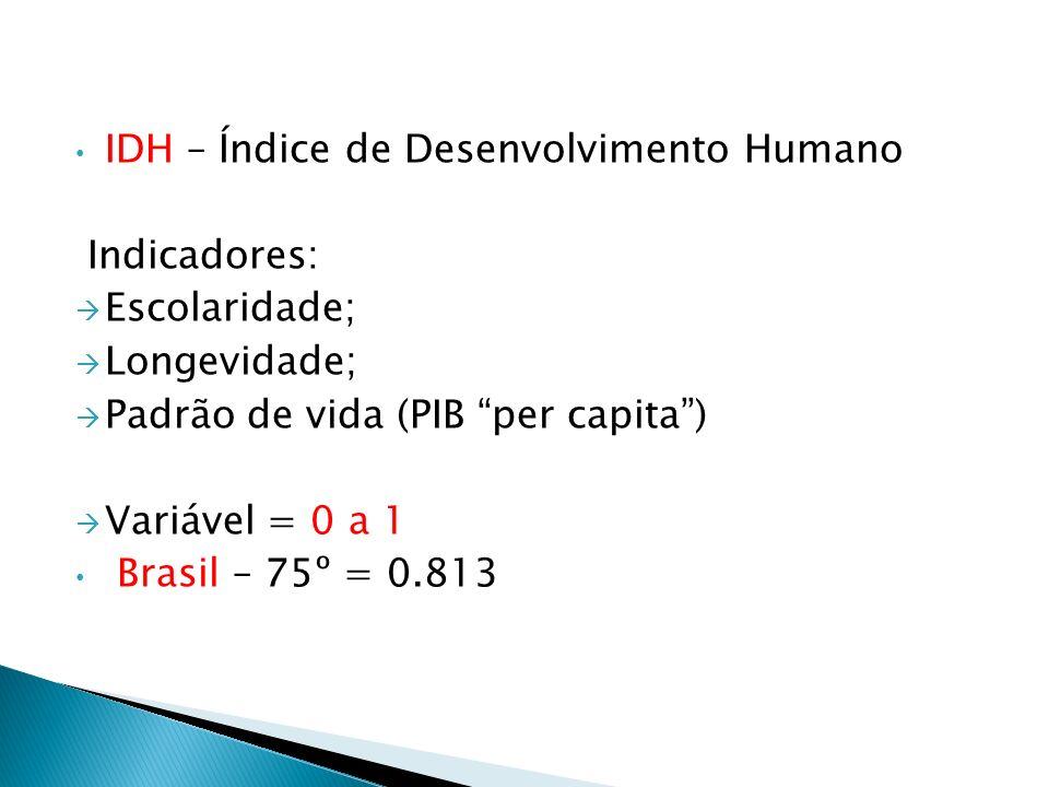 IDH – Índice de Desenvolvimento Humano Indicadores: Escolaridade; Longevidade; Padrão de vida (PIB per capita) Variável = 0 a 1 Brasil – 75º = 0.813