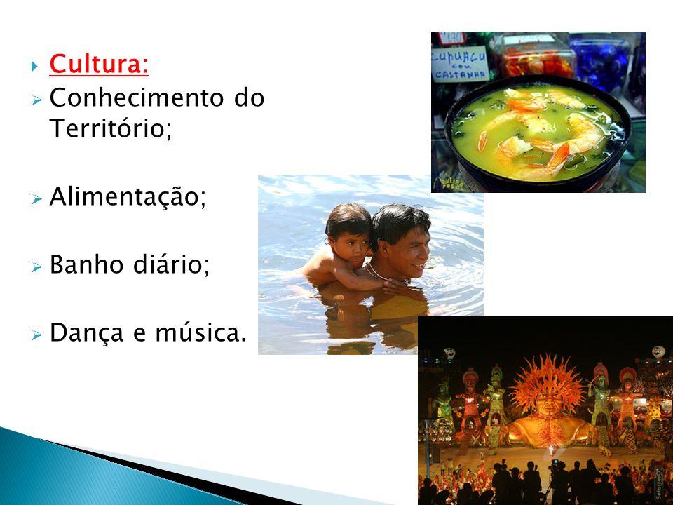 Cultura: Conhecimento do Território; Alimentação; Banho diário; Dança e música.