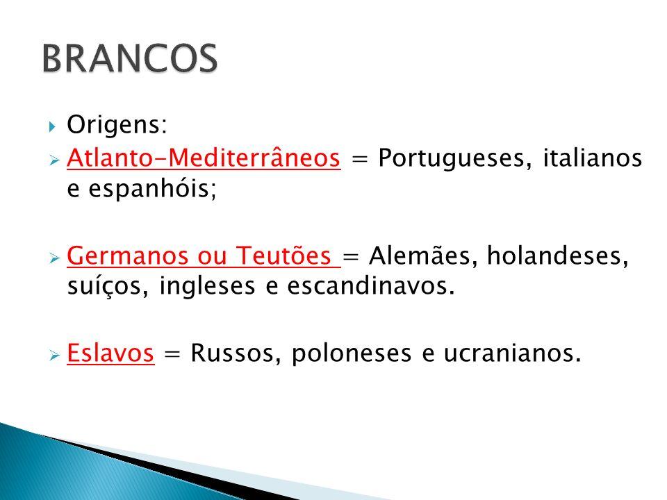 Origens: Atlanto-Mediterrâneos = Portugueses, italianos e espanhóis; Germanos ou Teutões = Alemães, holandeses, suíços, ingleses e escandinavos. Eslav