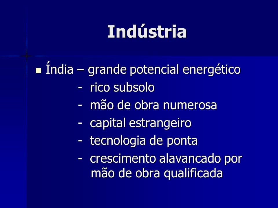 Indústria Índia – grande potencial energético Índia – grande potencial energético - rico subsolo - rico subsolo - mão de obra numerosa - mão de obra n
