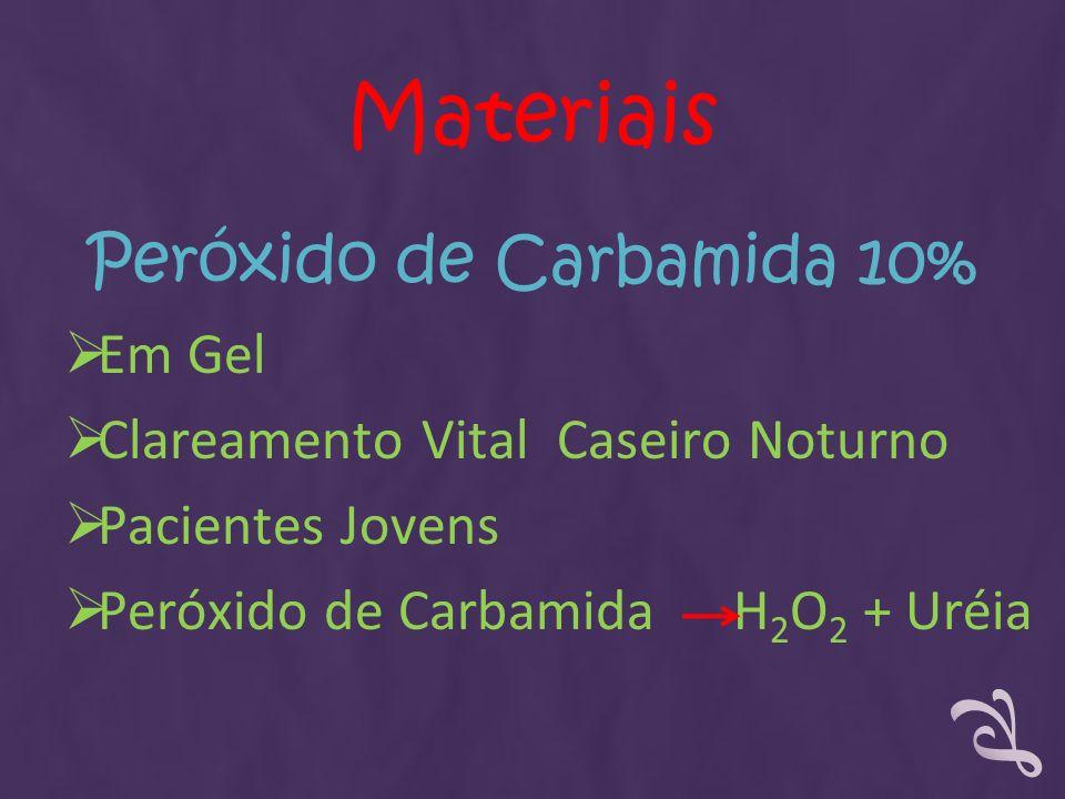 Peróxido de Carbamida 10% Em Gel Clareamento Vital Caseiro Noturno Pacientes Jovens Peróxido de Carbamida H 2 O 2 + Uréia Materiais