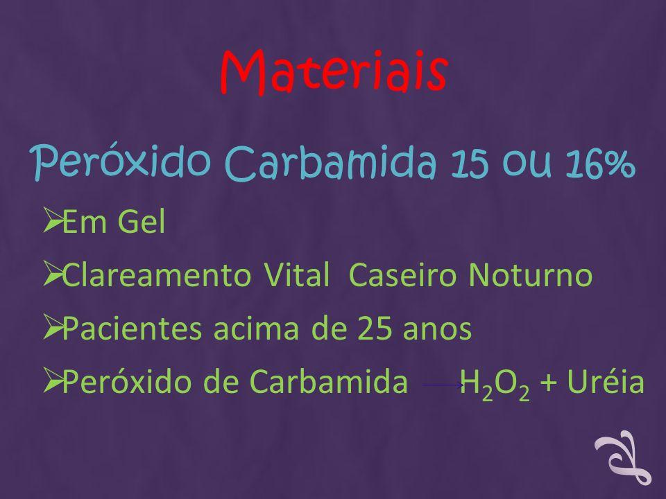 Peróxido Carbamida 15 ou 16% Em Gel Clareamento Vital Caseiro Noturno Pacientes acima de 25 anos Peróxido de Carbamida H 2 O 2 + Uréia Materiais