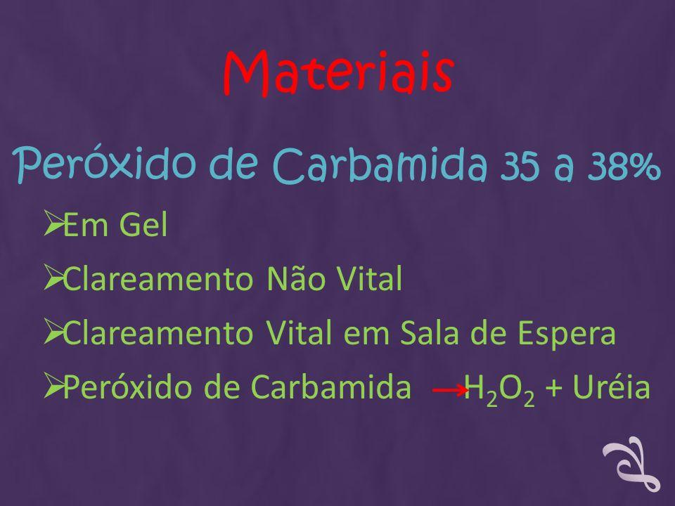 Peróxido de Carbamida 35 a 38% Em Gel Clareamento Não Vital Clareamento Vital em Sala de Espera Peróxido de Carbamida H 2 O 2 + Uréia Materiais