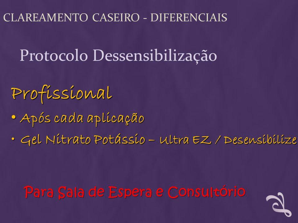 Profissional Após cada aplicação Após cada aplicação Gel Nitrato Potássio – Ultra EZ / DesensibilizeGel Nitrato Potássio – Ultra EZ / Desensibilize Pa