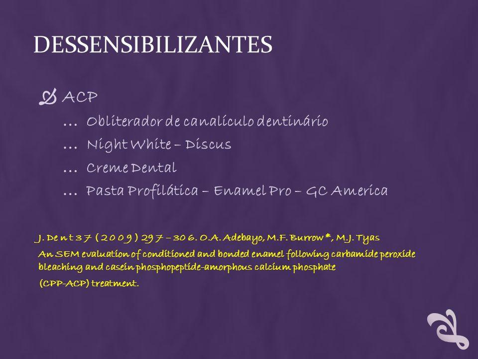 DESSENSIBILIZANTES ACP … Obliterador de canalículo dentinário … Night White – Discus … Creme Dental … Pasta Profilática – Enamel Pro – GC America J. D