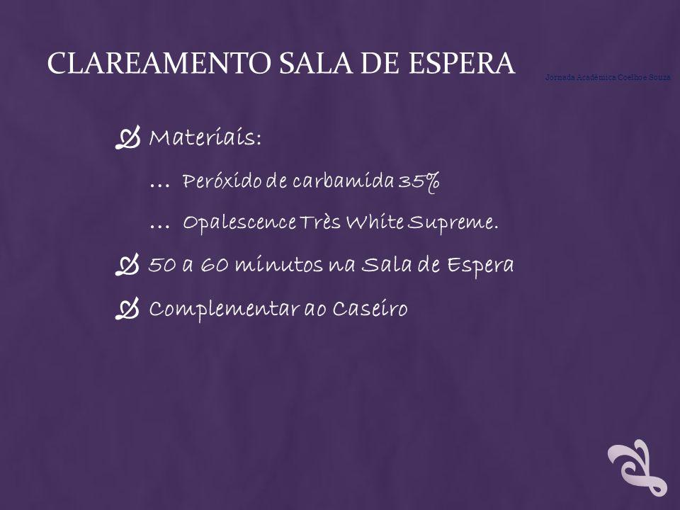 CLAREAMENTO SALA DE ESPERA Materiais: … Peróxido de carbamida 35% … Opalescence Très White Supreme. 50 a 60 minutos na Sala de Espera Complementar ao