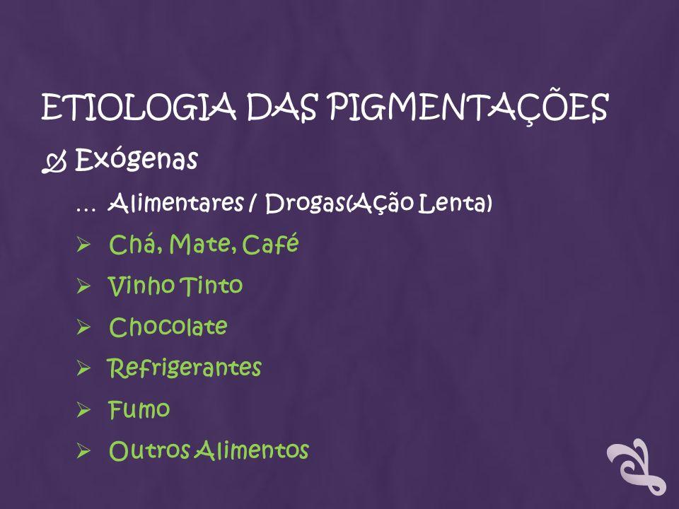 ETIOLOGIA DAS PIGMENTAÇÕES Exógenas … Alimentares / Drogas(Ação Lenta) Chá, Mate, Café Vinho Tinto Chocolate Refrigerantes Fumo Outros Alimentos