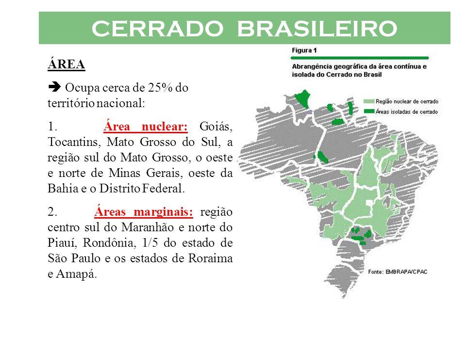 CERRADO BRASILEIRO ÁREA Ocupa cerca de 25% do território nacional: 1. Área nuclear: Goiás, Tocantins, Mato Grosso do Sul, a região sul do Mato Grosso,
