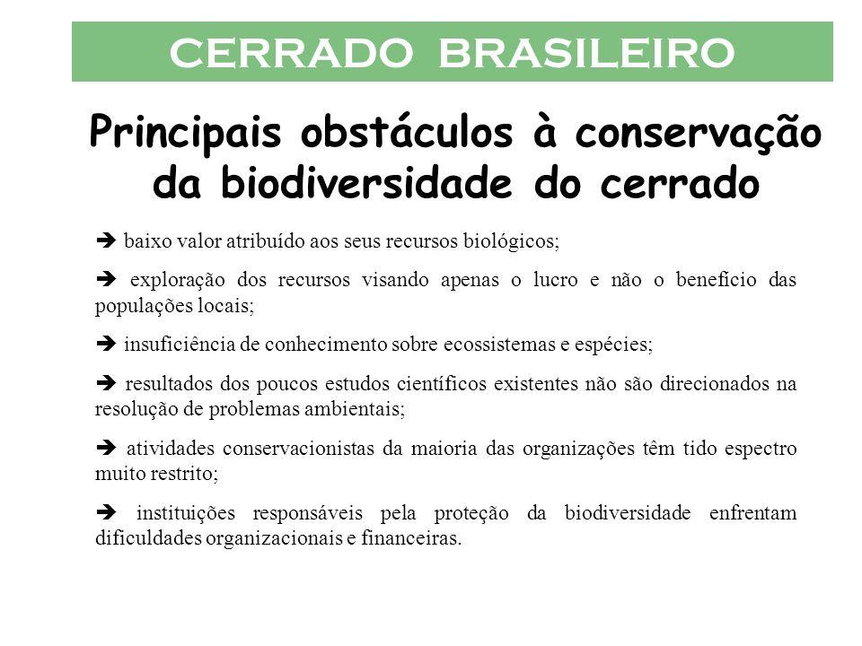 CERRADO BRASILEIRO Principais obstáculos à conservação da biodiversidade do cerrado baixo valor atribuído aos seus recursos biológicos; exploração dos
