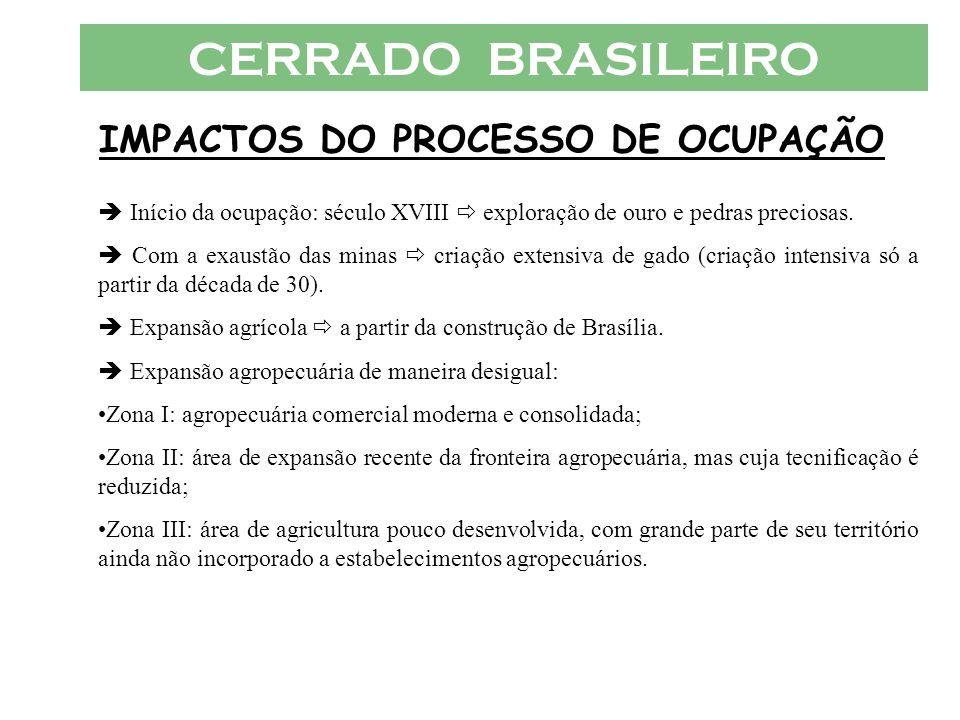 CERRADO BRASILEIRO IMPACTOS DO PROCESSO DE OCUPAÇÃO Paralelamente à expansão agropecuária cresceu o uso de equipamento mecanizado no cerrado.