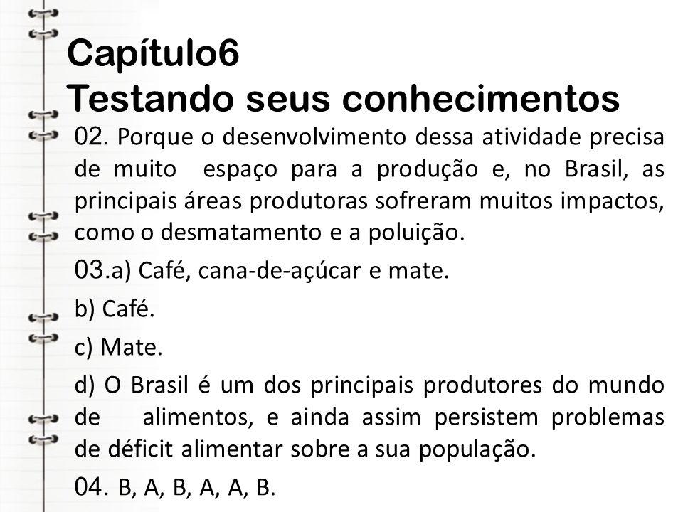 Capítulo6 Testando seus conhecimentos 02. Porque o desenvolvimento dessa atividade precisa de muito espaço para a produção e, no Brasil, as principais