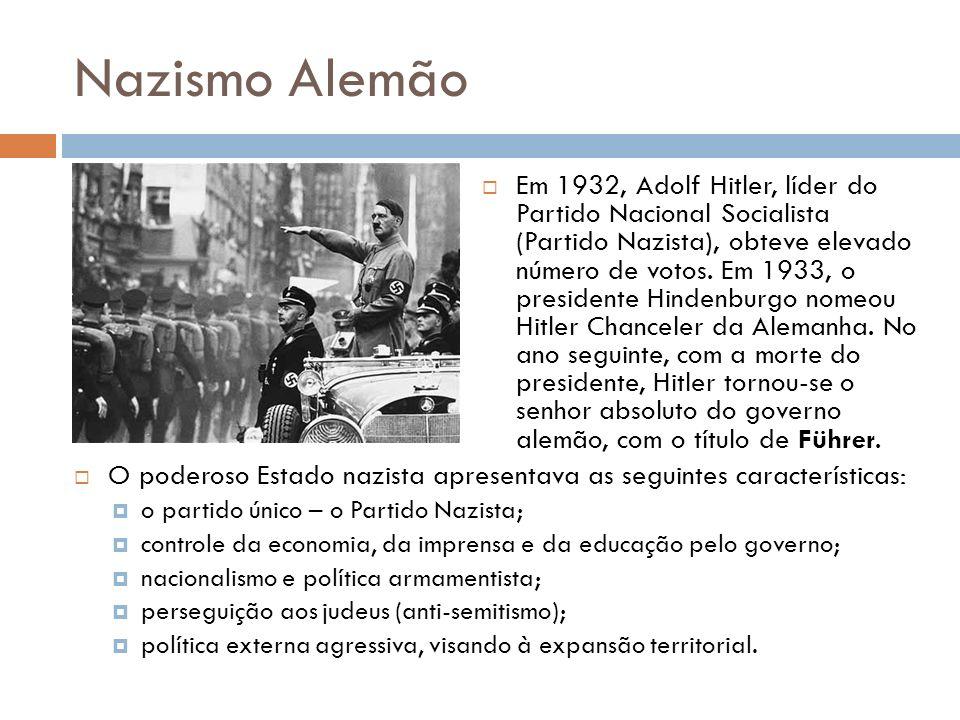 Nazismo Alemão O poderoso Estado nazista apresentava as seguintes características: o partido único – o Partido Nazista; controle da economia, da impre