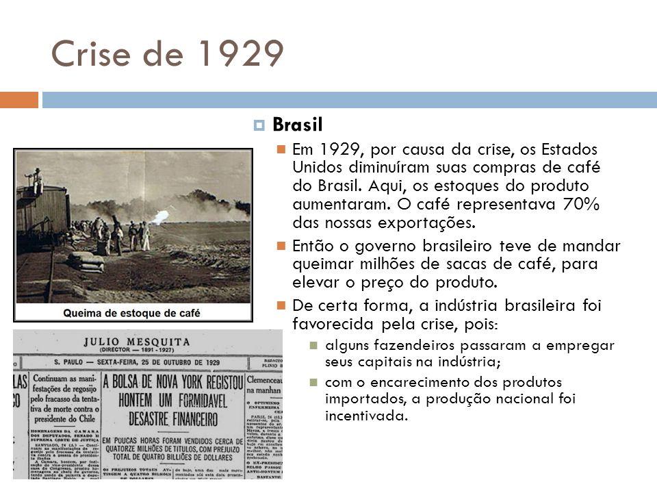 Crise de 1929 Brasil Em 1929, por causa da crise, os Estados Unidos diminuíram suas compras de café do Brasil. Aqui, os estoques do produto aumentaram