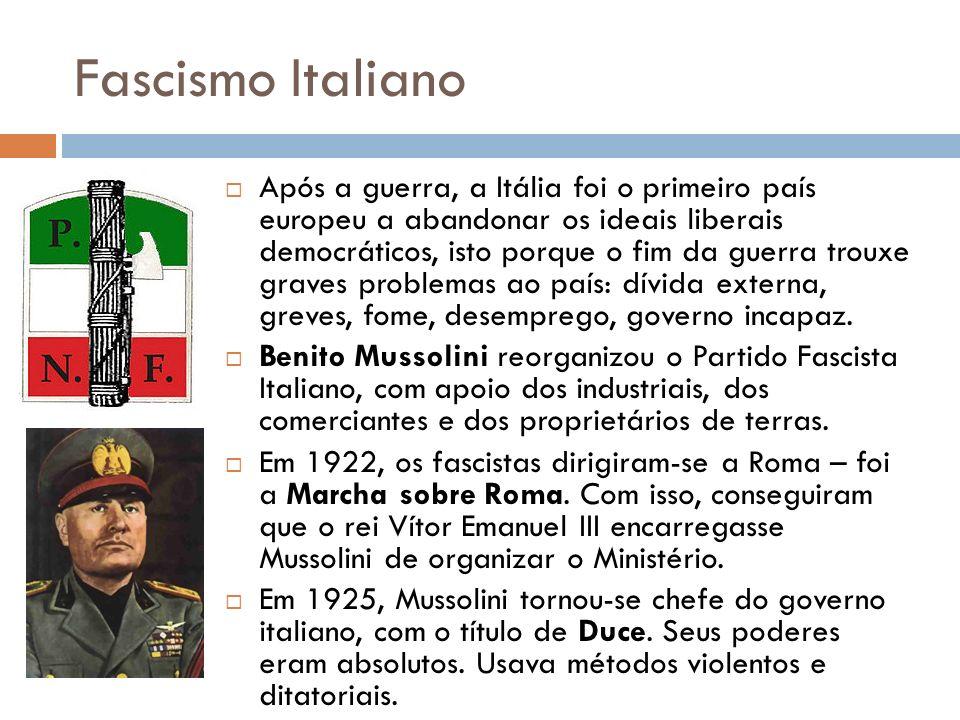 Fascismo Italiano Após a guerra, a Itália foi o primeiro país europeu a abandonar os ideais liberais democráticos, isto porque o fim da guerra trouxe