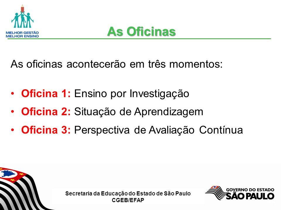 Secretaria da Educação do Estado de São Paulo CGEB/EFAP Slide 17 As Oficinas As oficinas acontecerão em três momentos: Oficina 1: Ensino por Investigação Oficina 2: Situação de Aprendizagem Oficina 3: Perspectiva de Avaliação Contínua