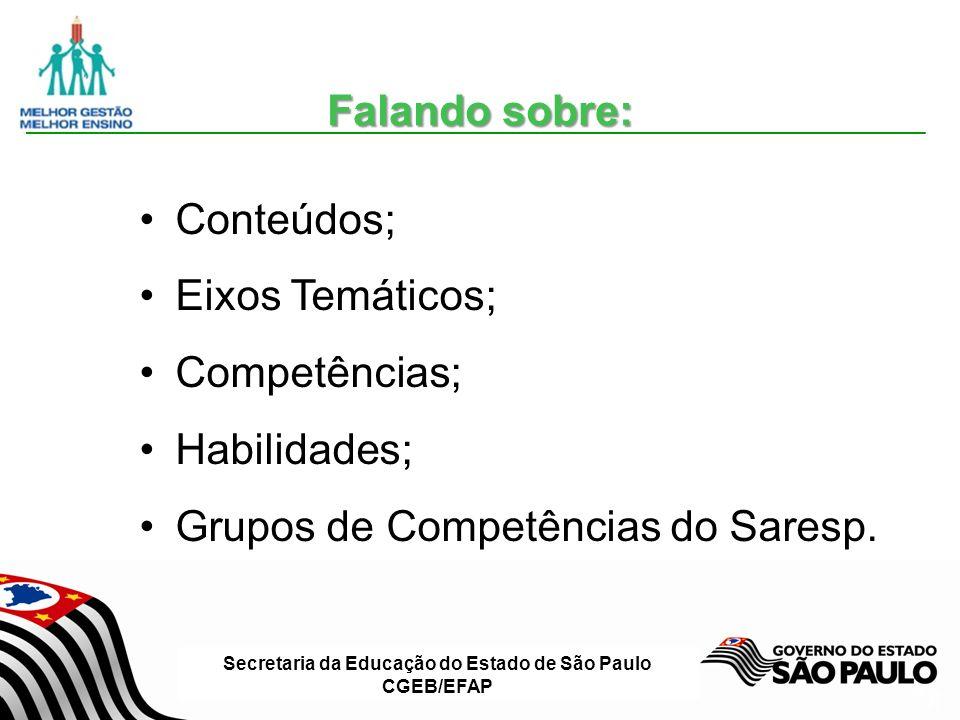Secretaria da Educação do Estado de São Paulo CGEB/EFAP Slide 21 Conteúdos; Eixos Temáticos; Competências; Habilidades; Grupos de Competências do Saresp.