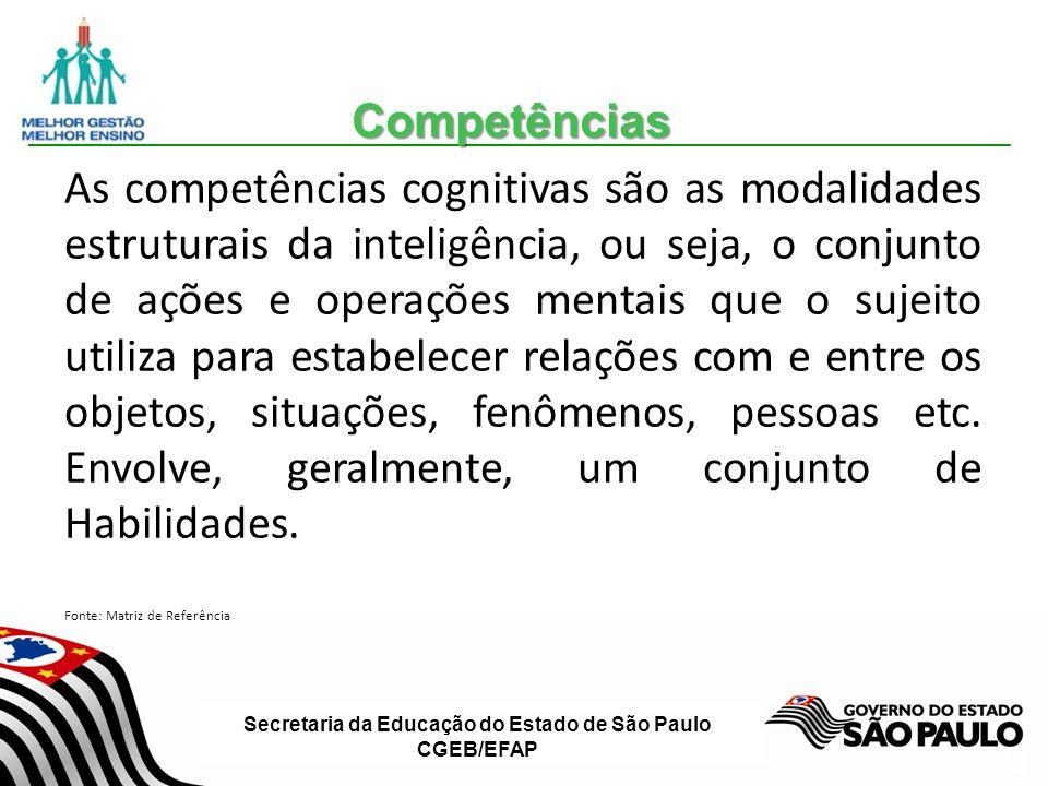 Secretaria da Educação do Estado de São Paulo CGEB/EFAP Slide 26 As competências cognitivas são as modalidades estruturais da inteligência, ou seja, o conjunto de ações e operações mentais que o sujeito utiliza para estabelecer relações com e entre os objetos, situações, fenômenos, pessoas etc.