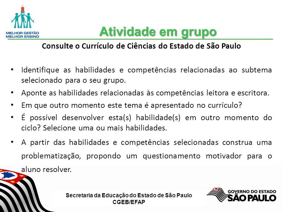 Secretaria da Educação do Estado de São Paulo CGEB/EFAP Consulte o Currículo de Ciências do Estado de São Paulo Identifique as habilidades e competências relacionadas ao subtema selecionado para o seu grupo.