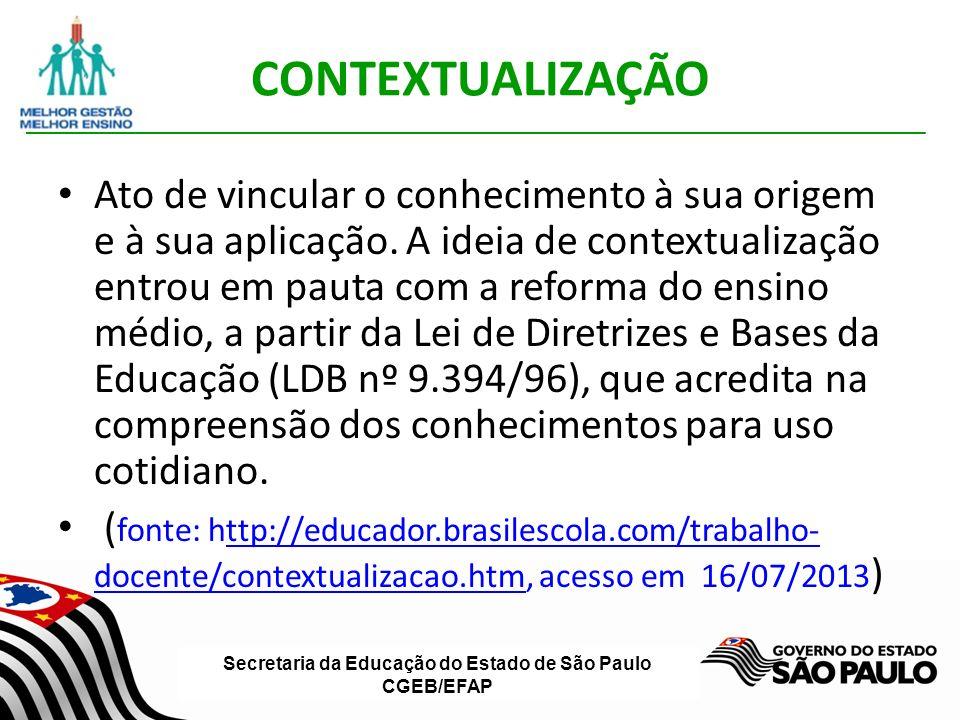 Secretaria da Educação do Estado de São Paulo CGEB/EFAP CONTEXTUALIZAÇÃO Ato de vincular o conhecimento à sua origem e à sua aplicação.