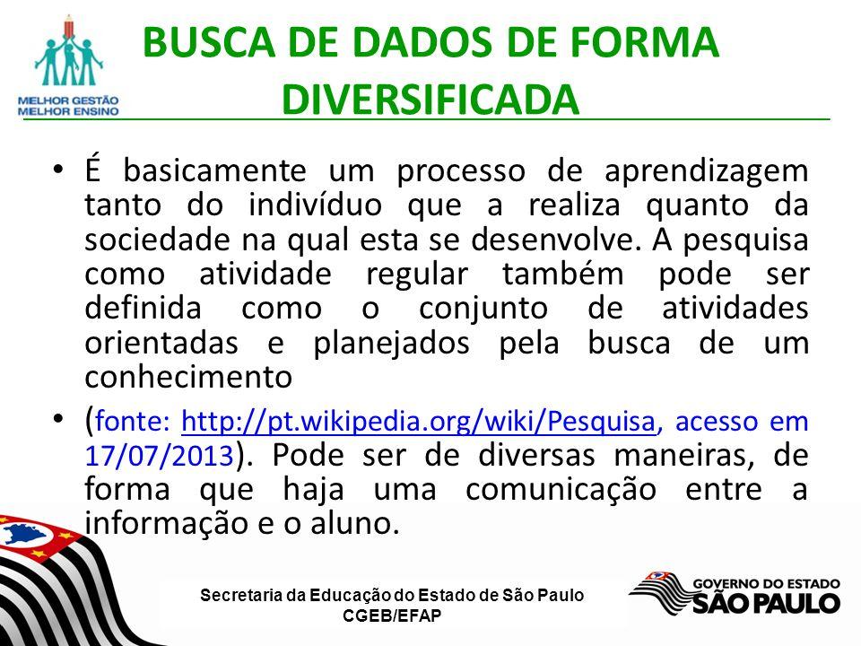 Secretaria da Educação do Estado de São Paulo CGEB/EFAP BUSCA DE DADOS DE FORMA DIVERSIFICADA É basicamente um processo de aprendizagem tanto do indivíduo que a realiza quanto da sociedade na qual esta se desenvolve.