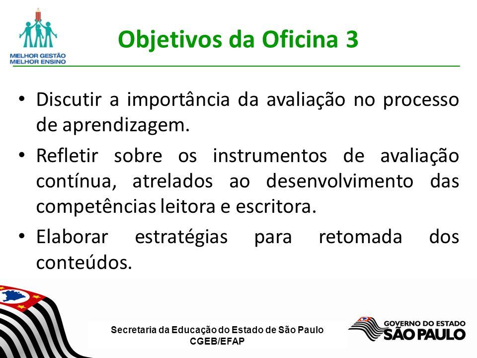 Secretaria da Educação do Estado de São Paulo CGEB/EFAP Objetivos da Oficina 3 Discutir a importância da avaliação no processo de aprendizagem.