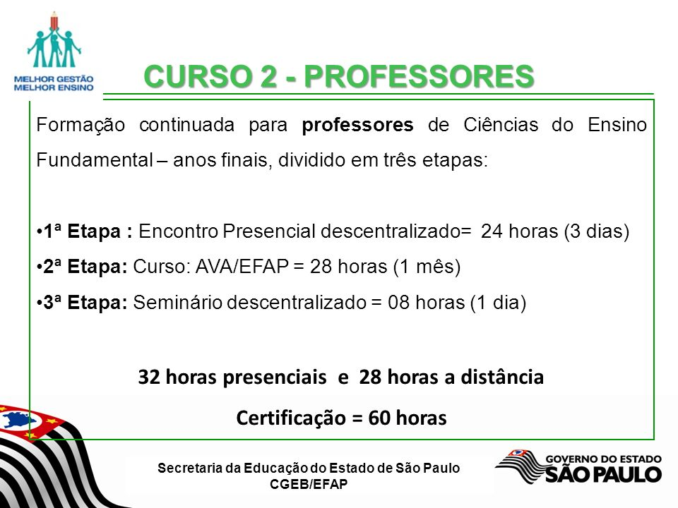 Secretaria da Educação do Estado de São Paulo CGEB/EFAP Na Situação de Aprendizagem elaborada na oficina 2, analise os instrumentos de avaliação e verifique se contemplam a avaliação contínua.