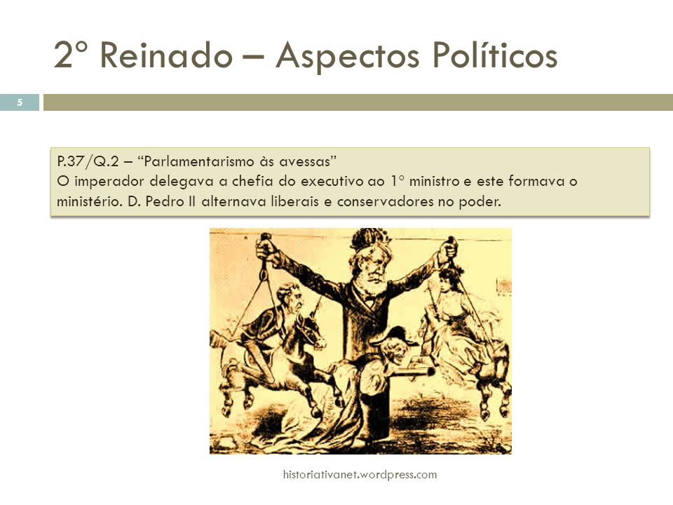 2º Reinado – Aspectos Políticos historiativanet.wordpress.com 5 P.37/Q.2 – Parlamentarismo às avessas O imperador delegava a chefia do executivo ao 1º
