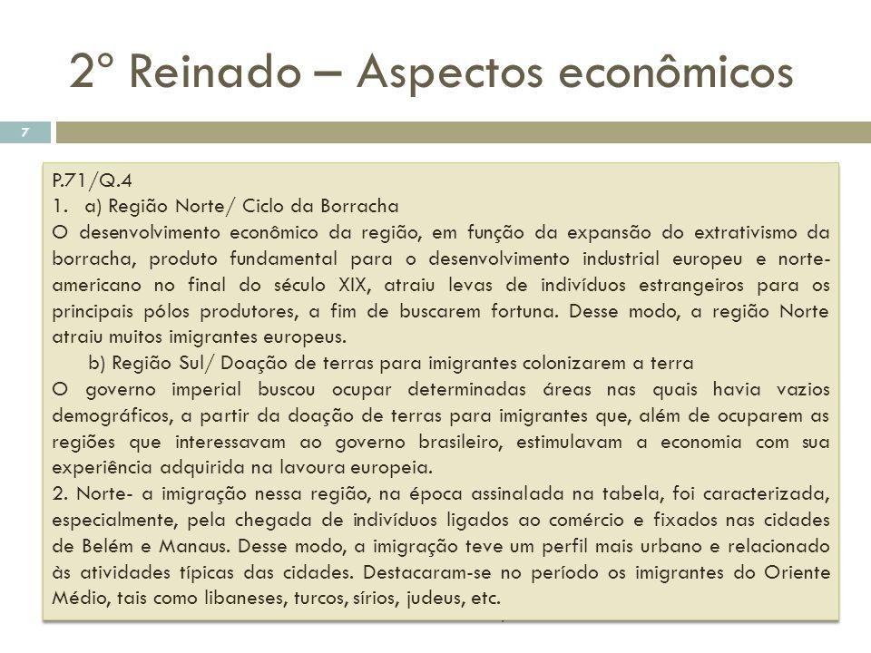 2º Reinado – Aspectos econômicos historiativanet.wordpress.com 7 P.71/Q.4 1.a) Região Norte/ Ciclo da Borracha O desenvolvimento econômico da região,