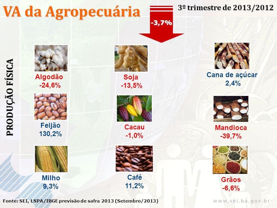 VA da Agropecuária 3º trimestre de 2013/2012 Fonte: SEI, LSPA/IBGE previsão de safra 2013 (Setembro/2013) -3,7% PRODUÇÃO FÍSICA Algodão -24,6% Soja -13,5% Cana de açúcar 2,4% Milho 9,3% Feijão 130,2% Cacau -1,0% Mandioca -39,7% Café 11,2% Grãos -6,6%
