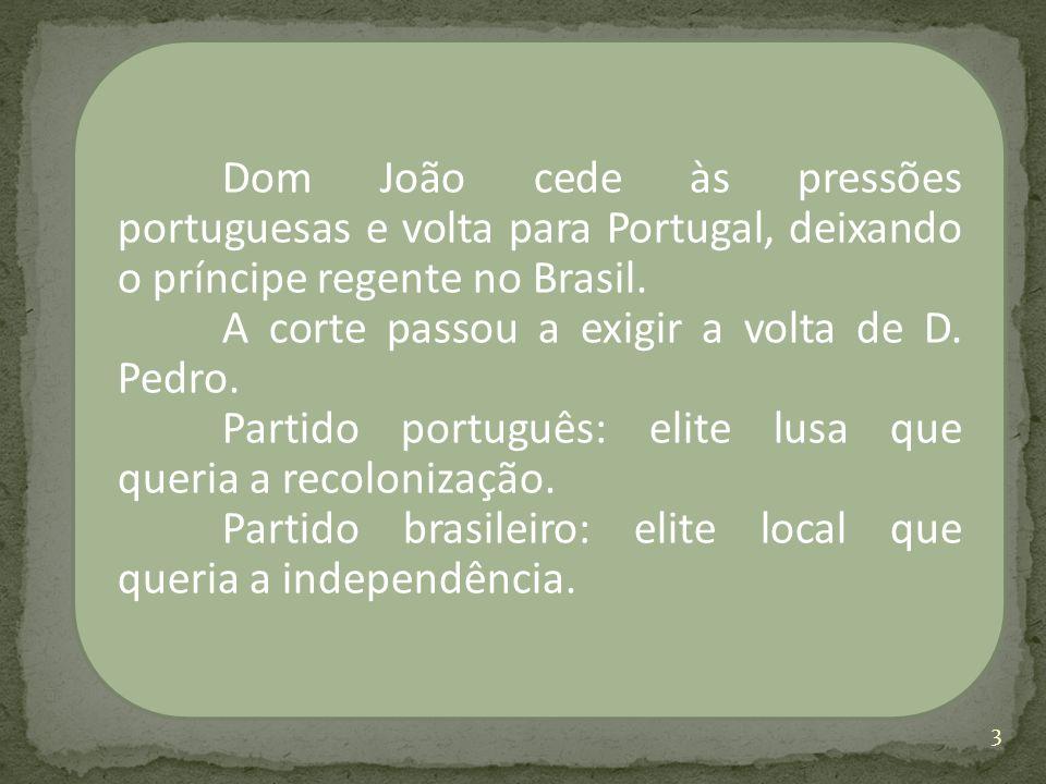 Dom João cede às pressões portuguesas e volta para Portugal, deixando o príncipe regente no Brasil. A corte passou a exigir a volta de D. Pedro. Parti
