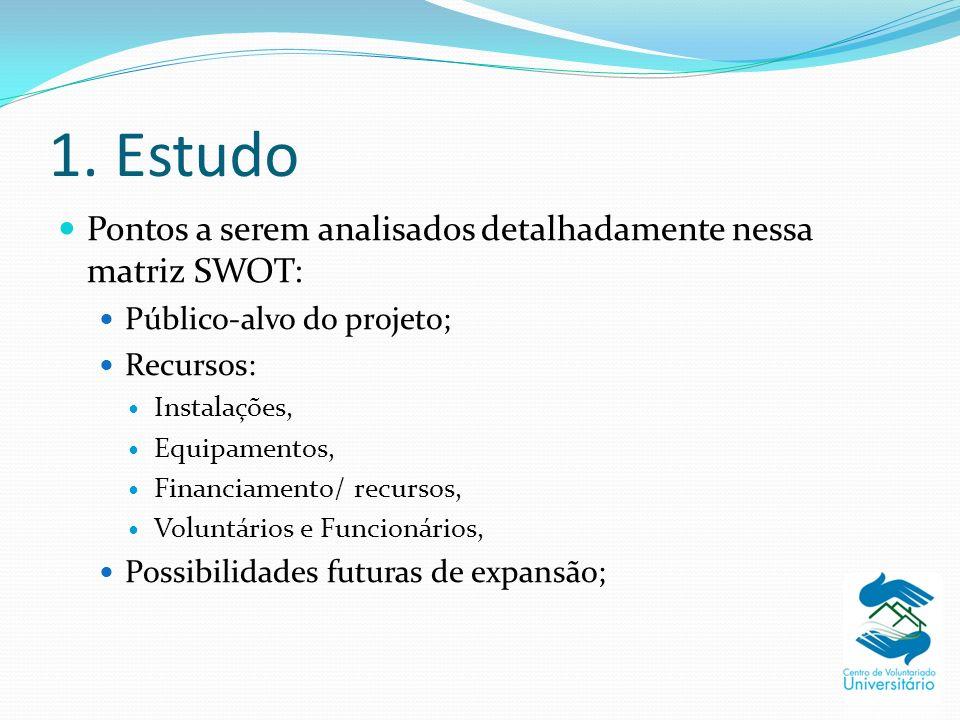 1. Estudo Pontos a serem analisados detalhadamente nessa matriz SWOT: Público-alvo do projeto; Recursos: Instalações, Equipamentos, Financiamento/ rec