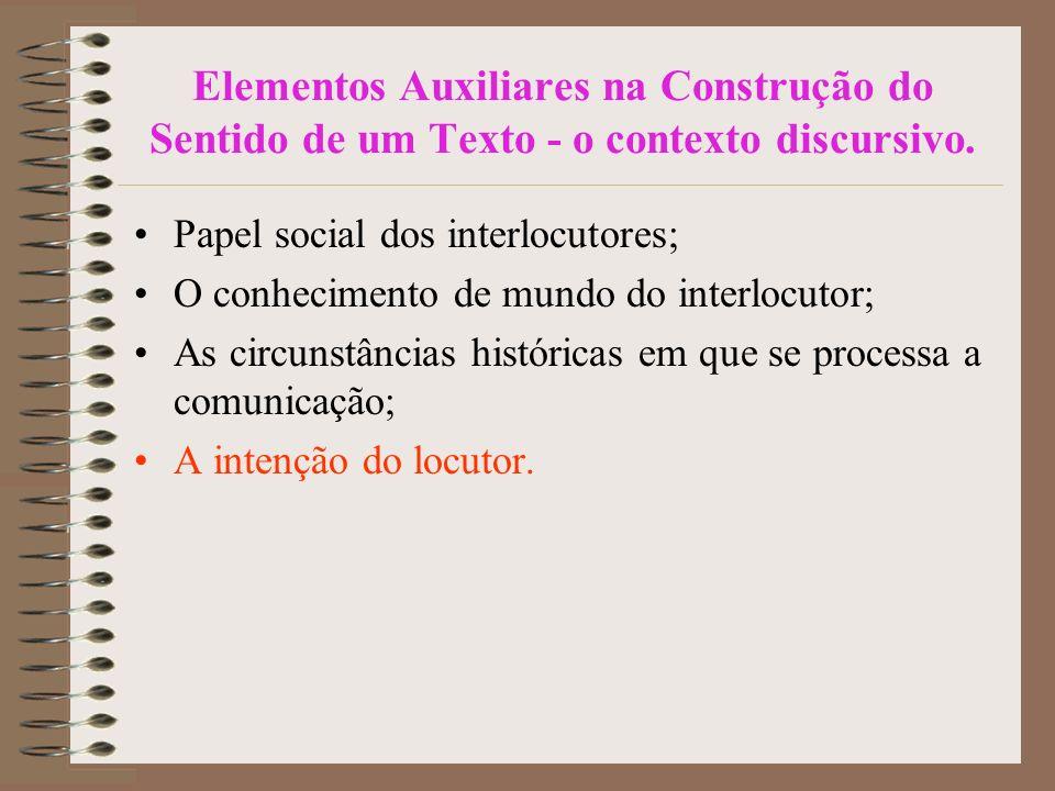 Elementos Auxiliares na Construção do Sentido de um Texto - o contexto discursivo.