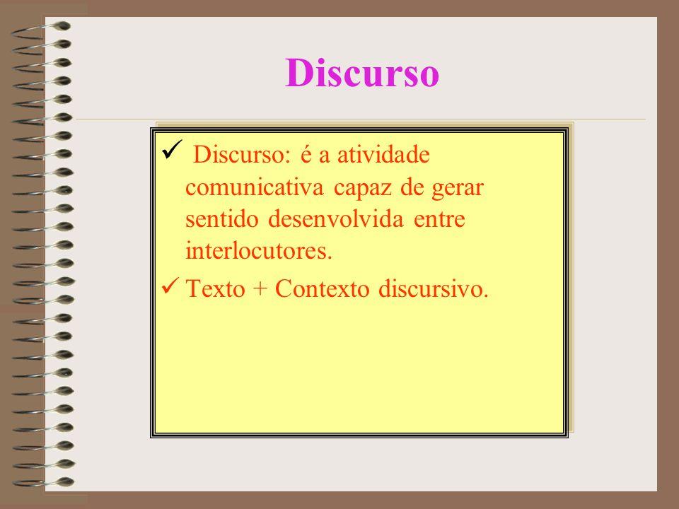 Discurso Discurso: é a atividade comunicativa capaz de gerar sentido desenvolvida entre interlocutores.