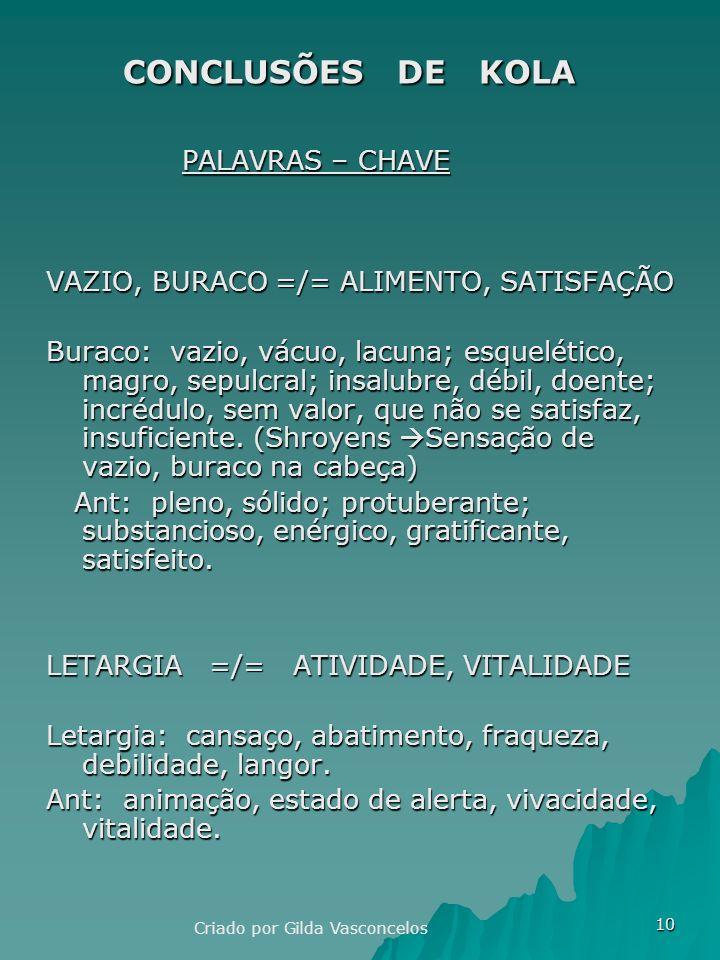10 CONCLUSÕES DE KOLA CONCLUSÕES DE KOLA PALAVRAS – CHAVE PALAVRAS – CHAVE VAZIO, BURACO =/= ALIMENTO, SATISFAÇÃO Buraco: vazio, vácuo, lacuna; esquelético, magro, sepulcral; insalubre, débil, doente; incrédulo, sem valor, que não se satisfaz, insuficiente.