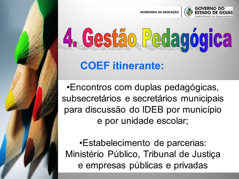COEF itinerante: Encontros com duplas pedagógicas, subsecretários e secretários municipais para discussão do IDEB por município e por unidade escolar;