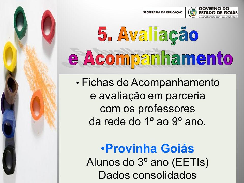 Fichas de Acompanhamento e avaliação em parceria com os professores da rede do 1º ao 9º ano. Provinha Goiás Alunos do 3º ano (EETIs) Dados consolidado