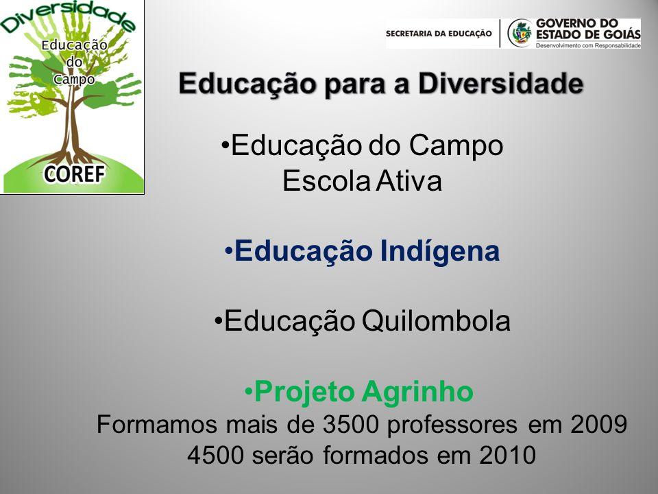 Educação do Campo Escola Ativa Educação Indígena Educação Quilombola Projeto Agrinho Formamos mais de 3500 professores em 2009 4500 serão formados em