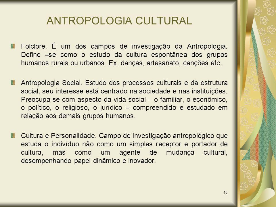 10 ANTROPOLOGIA CULTURAL Folclore. É um dos campos de investigação da Antropologia. Define –se como o estudo da cultura espontânea dos grupos humanos