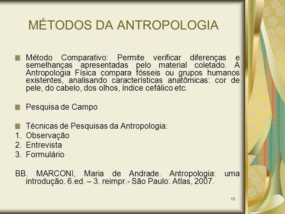13 MÉTODOS DA ANTROPOLOGIA Método Comparativo: Permite verificar diferenças e semelhanças apresentadas pelo material coletado. A Antropologia Física c