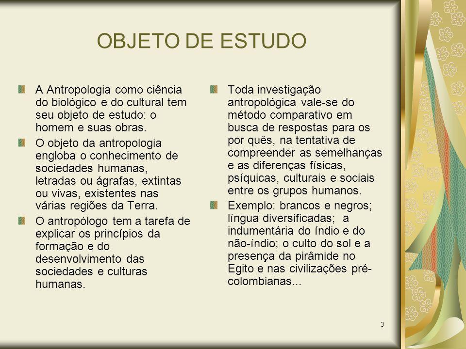 3 OBJETO DE ESTUDO A Antropologia como ciência do biológico e do cultural tem seu objeto de estudo: o homem e suas obras. O objeto da antropologia eng