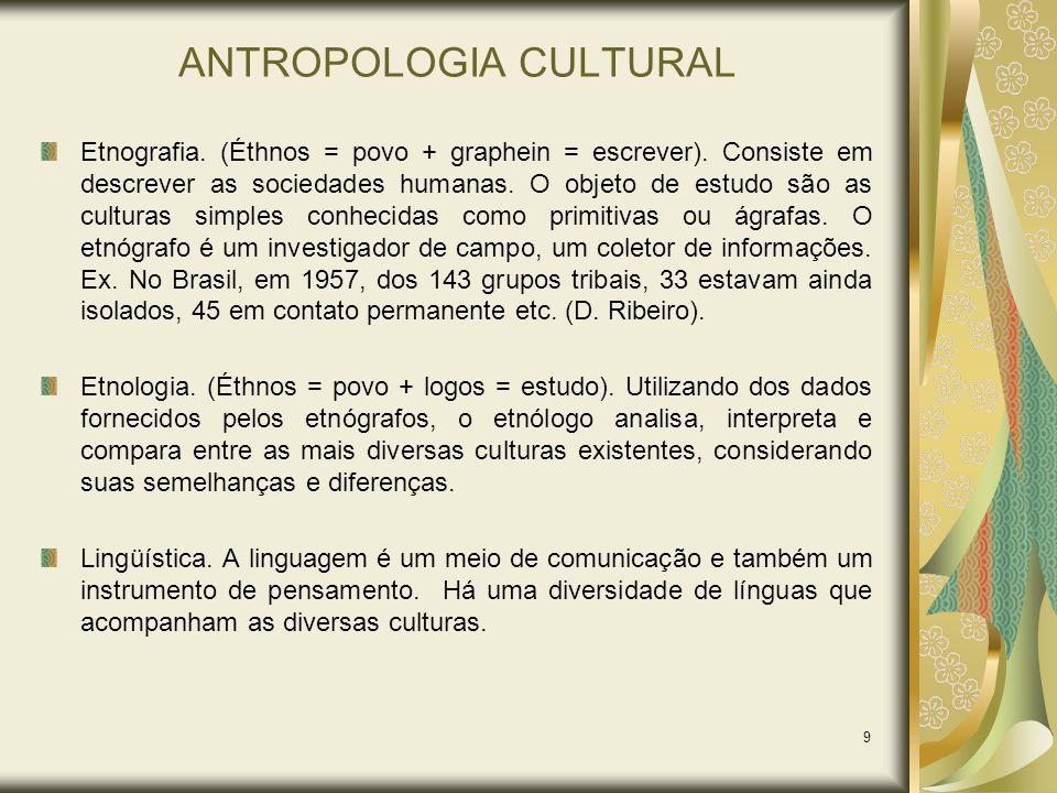 9 ANTROPOLOGIA CULTURAL Etnografia. (Éthnos = povo + graphein = escrever). Consiste em descrever as sociedades humanas. O objeto de estudo são as cult