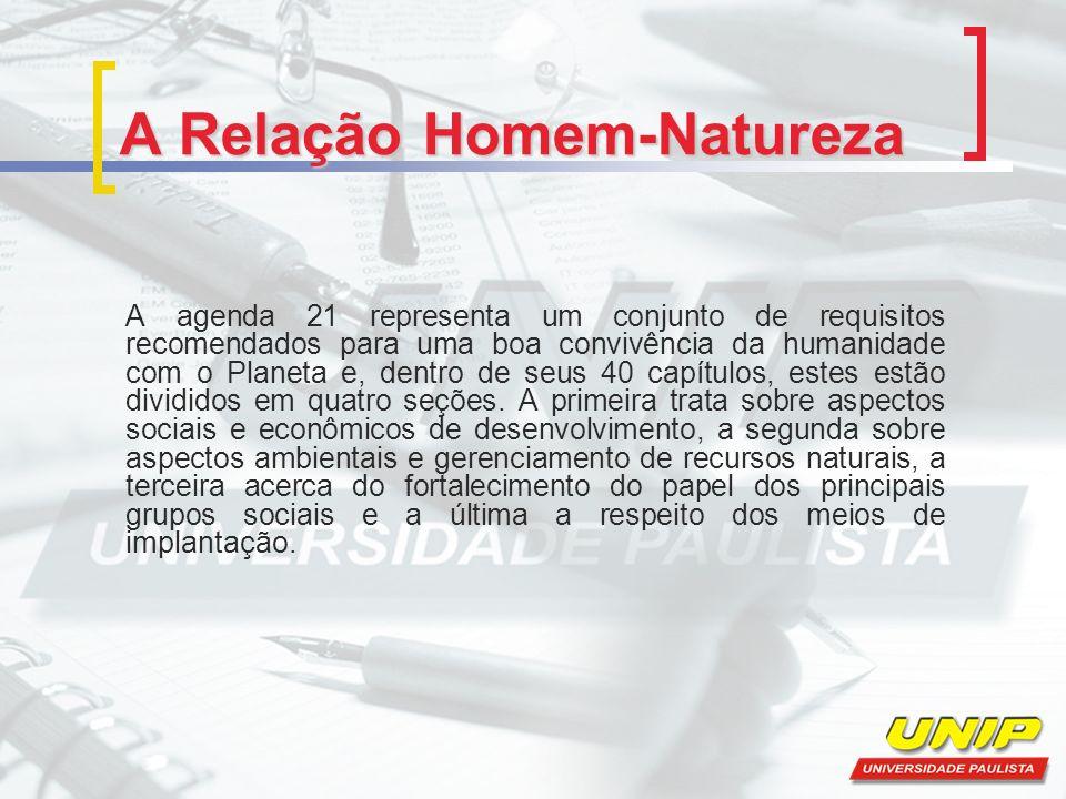 A Relação Homem-Natureza A agenda 21 representa um conjunto de requisitos recomendados para uma boa convivência da humanidade com o Planeta e, dentro