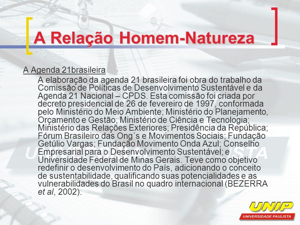 A Relação Homem-Natureza A Agenda 21brasileira A elaboração da agenda 21 brasileira foi obra do trabalho da Comissão de Políticas de Desenvolvimento S