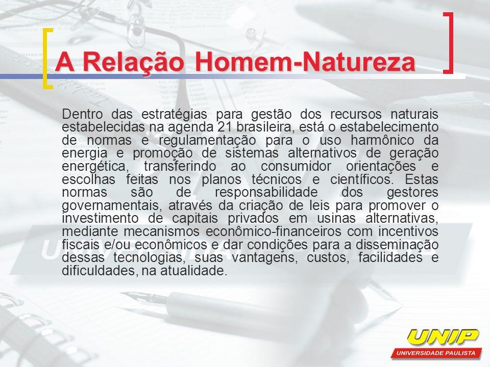 A Relação Homem-Natureza Dentro das estratégias para gestão dos recursos naturais estabelecidas na agenda 21 brasileira, está o estabelecimento de nor