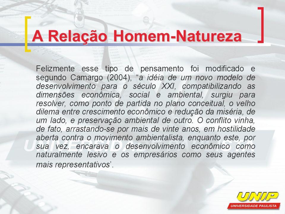 A Relação Homem-Natureza Felizmente esse tipo de pensamento foi modificado e segundo Camargo (2004), a idéia de um novo modelo de desenvolvimento para