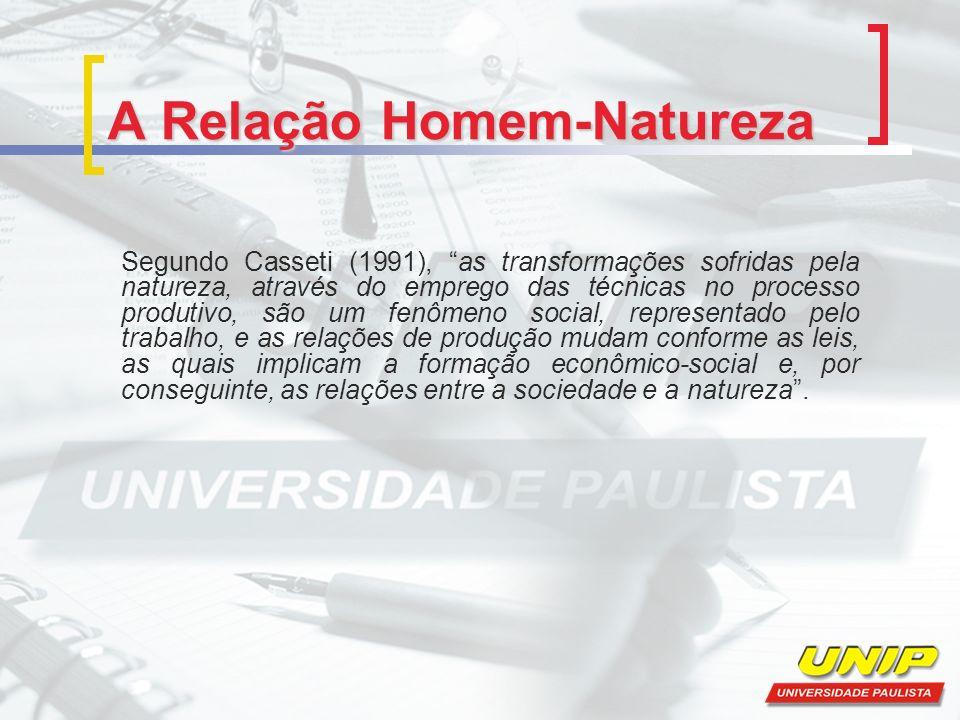 A Relação Homem-Natureza Segundo Casseti (1991), as transformações sofridas pela natureza, através do emprego das técnicas no processo produtivo, são