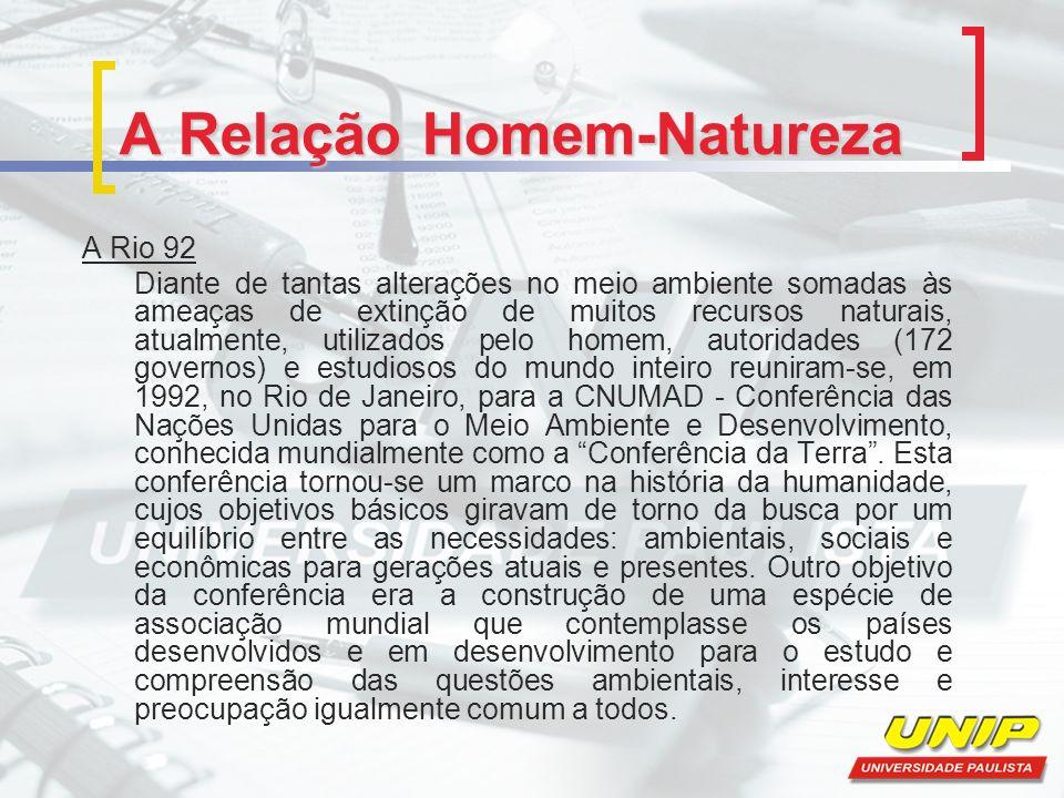 A Relação Homem-Natureza A Rio 92 Diante de tantas alterações no meio ambiente somadas às ameaças de extinção de muitos recursos naturais, atualmente,